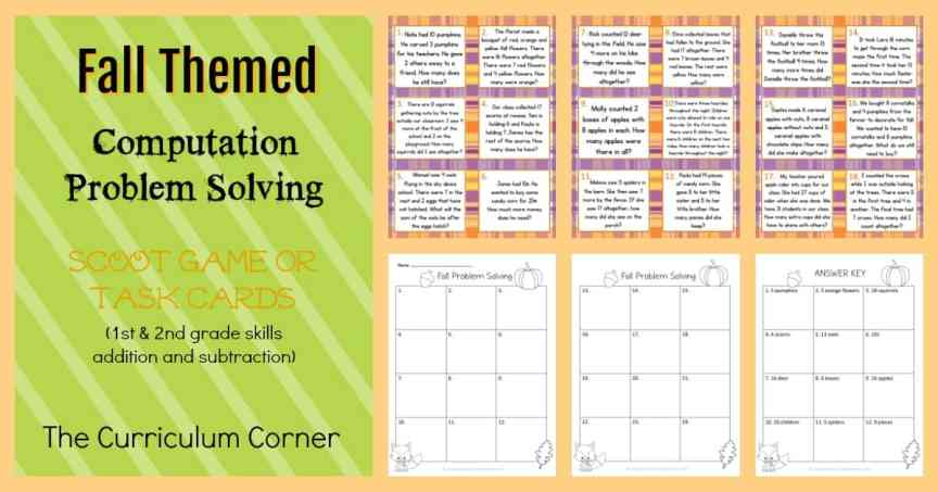 Fall Themed Problem Solving Task Cards from The Curriculum Corner | Scoot Game | FREE