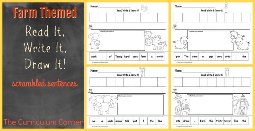FREE Read It, Write It, Draw It Farm Scrambled Sentences in a Farm Theme