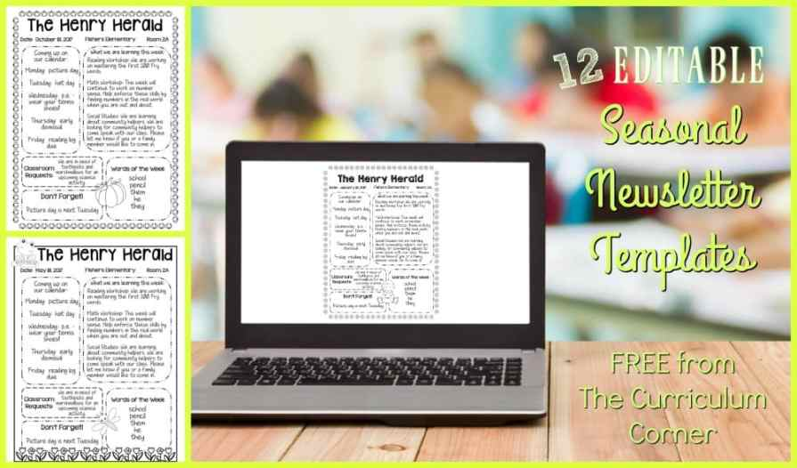 FREE 12 Seasonal Editable Newsletters Templates from The Curriculum Corner | Classroom Newsletter