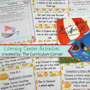 FREE Literacy Center Activities for How to Make an Apple Pie and See the World FREE from The Curriculum Corner 2