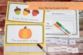 FREE Fall Scrambled Sentence Mats from The Curriculum Corner