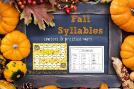 FREE Fall Syllable Practice from The Curriculum Corner | Literacy Center 2