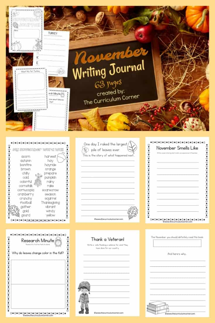 FREE November Writing Journal from The Curriculum Corner - 63 pages! 4