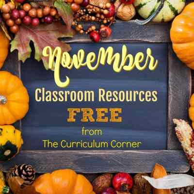 FREE November Resource Collection & Binder Cover all FREE from The Curriculum Corner