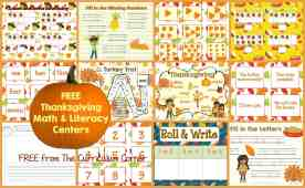 Thanksgiving Center for Math & Literacy FREE from The Curriculum Corner