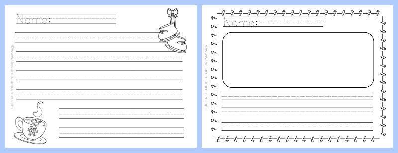 FREE Winter Themed Lined Writing Papers from The Curriculum Corner | Winter Lined Papers