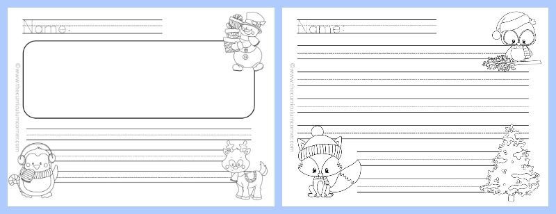 FREE Winter Themed Lined Writing Papers from The Curriculum Corner | Winter Lined Papers 2