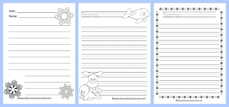FREE Winter Themed Lined Writing Papers from The Curriculum Corner | Winter Lined Papers 4