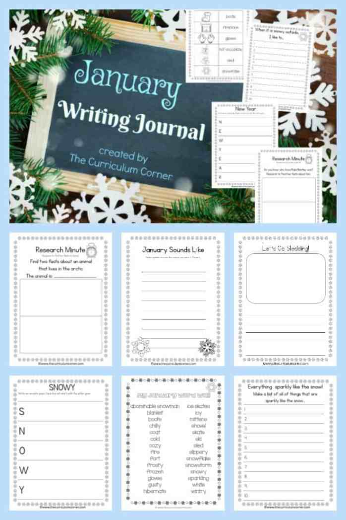 FREE January Journal for Writing from The Curriculum Corner 2