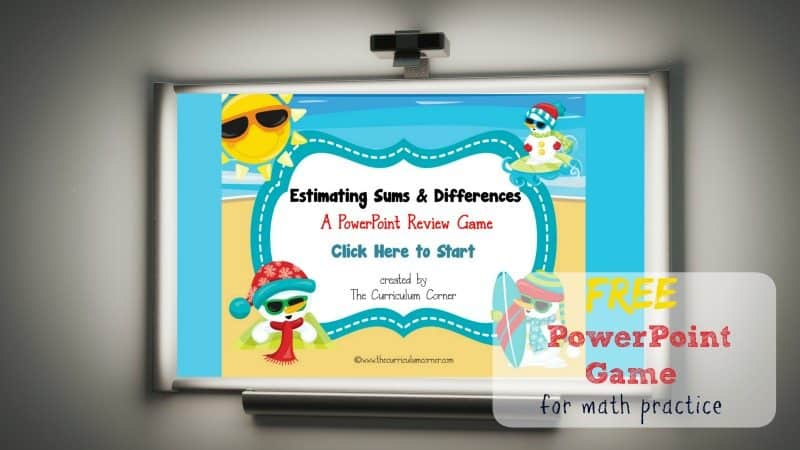 This free PowerPoint game is designed to give your students practice with estimating sums and estimating differences.