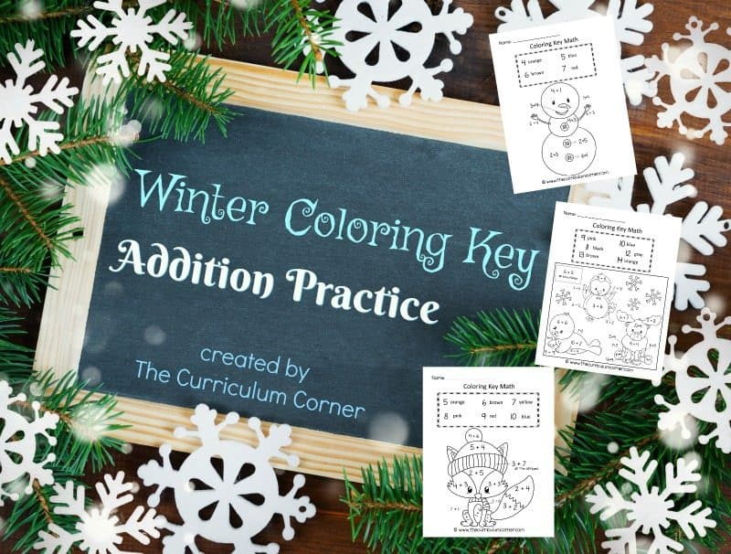 This winter color key addition is like a winter color by number for math practice.
