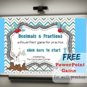 FREE Decimals & Fractions Math PowerPoint Game