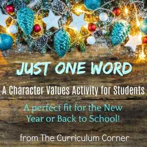 Just One Word Character Values Activity