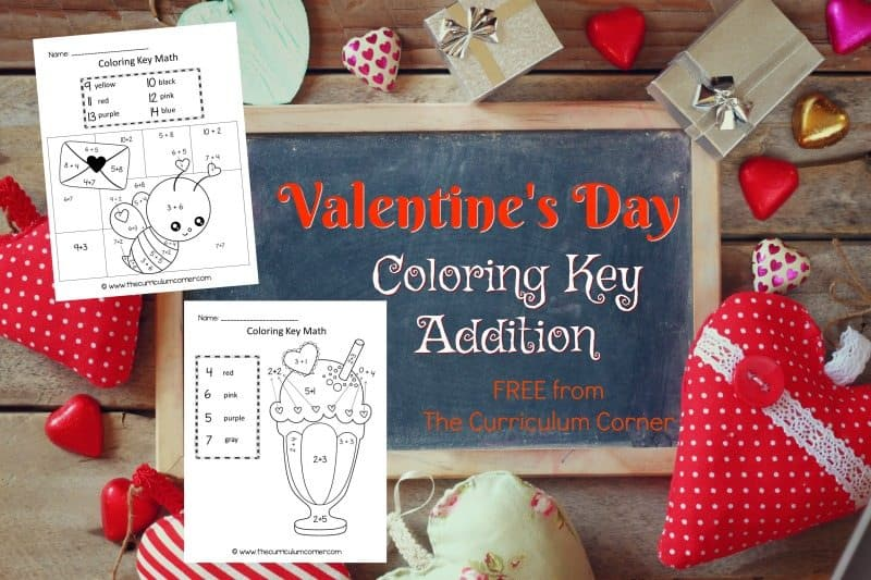 This Valentine's Day color key addition is like a Valentine's Day color by number for math practice.