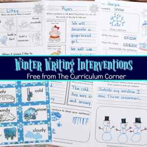 FREE Winter Writing Interventions from The Curriculum Corner