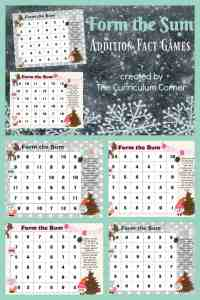 FREE Winter Math Facts Game from The Curriculum Corner