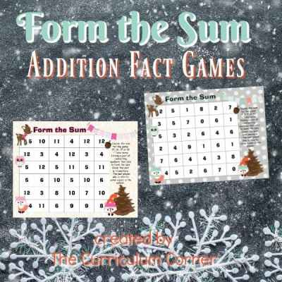 Use this free winter math facts game for addition practice with a woodland winter animal theme.