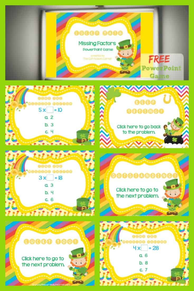 Missing Factors Lucky PowerPoint Game - The Curriculum Corner 123