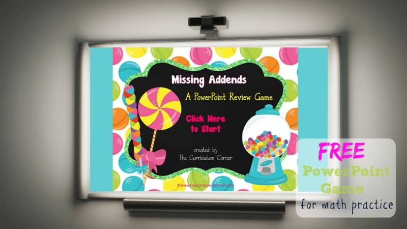 Use this candy missing addends game for PowerPoint to give your students practice with recalling basic addition facts. Designed with a very sweet candy theme.
