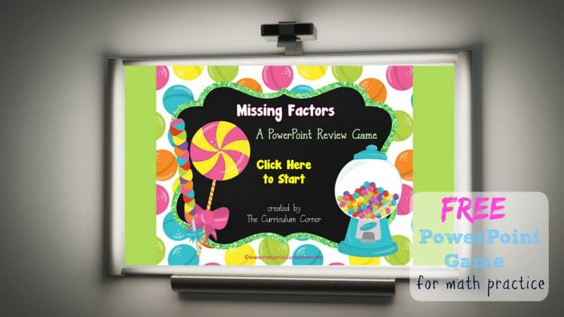 Use this candy missing factors game for PowerPoint to give your students practice with recalling basic multiplication facts. Designed with a sweet candy theme.