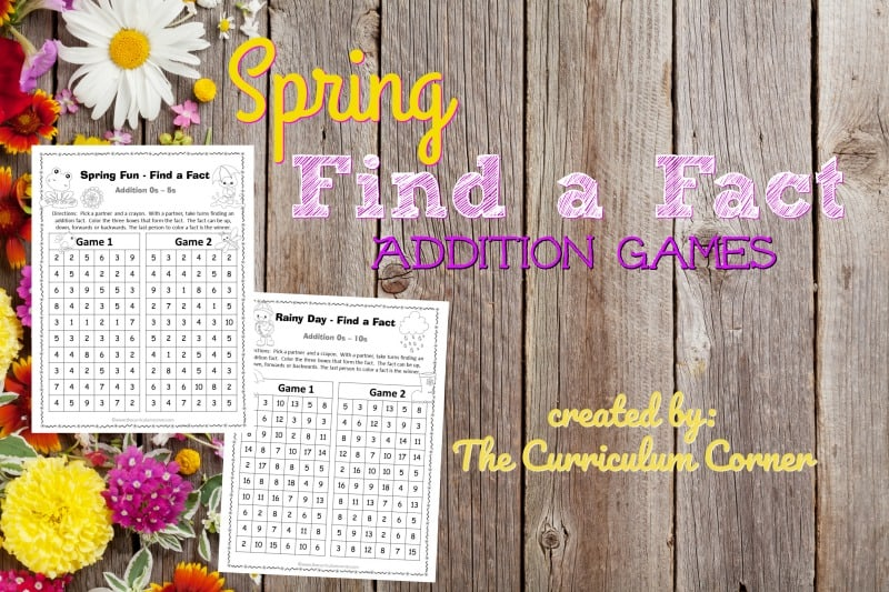 These spring addition fact practice games are designed to offer basic fact practice in a fun and engaging format!