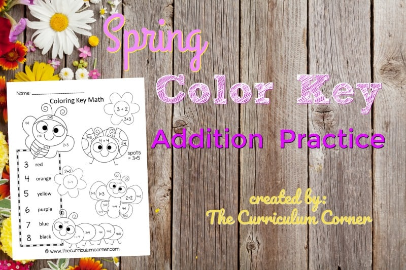 This spring color key addition is like a spring color by number set for math practice. FREE addition fact practice from The Curriculum Corner.