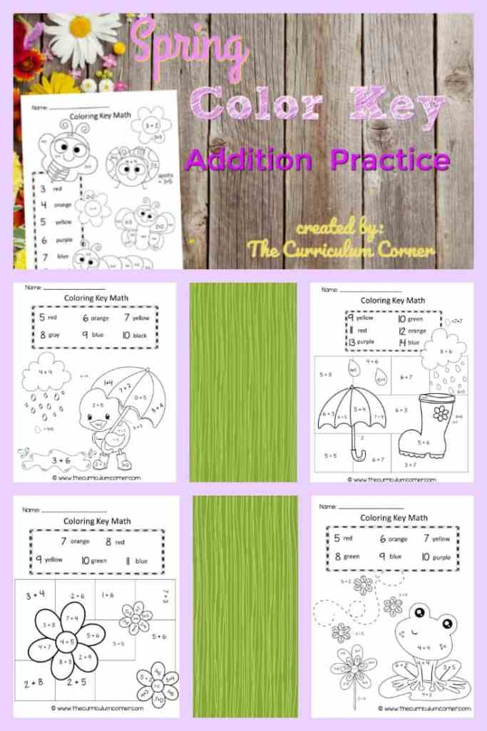 FREE Spring Color by Number Pages from The Curriculum Corner