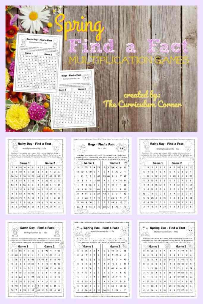 FREE Spring Find a Fact Multiplication Practice