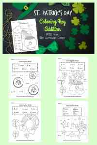 FREE St. Patrick's Day Color Key Addition Practice from The Curriculum Corner