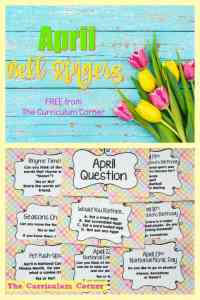 FREE April Bell Ringers from The Curriculum Corner | Second Grade, Third Grade