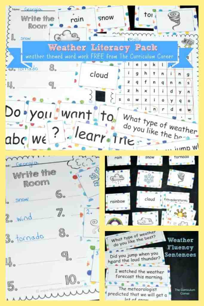 FREE Weather Word Work from The Curriculum Corner