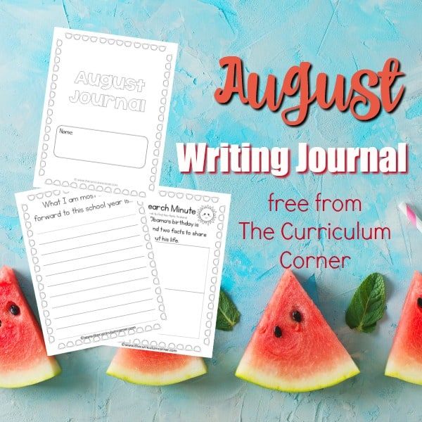 FREE August Writing Journal