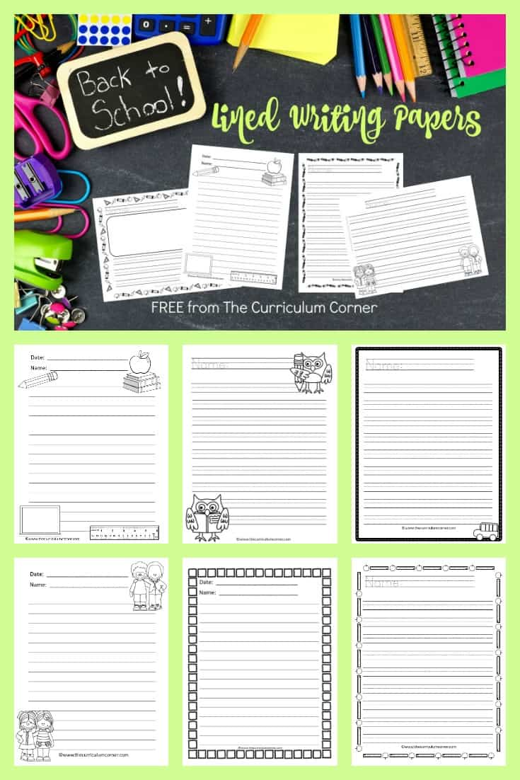Back to School Lined Papers - The Curriculum Corner 123