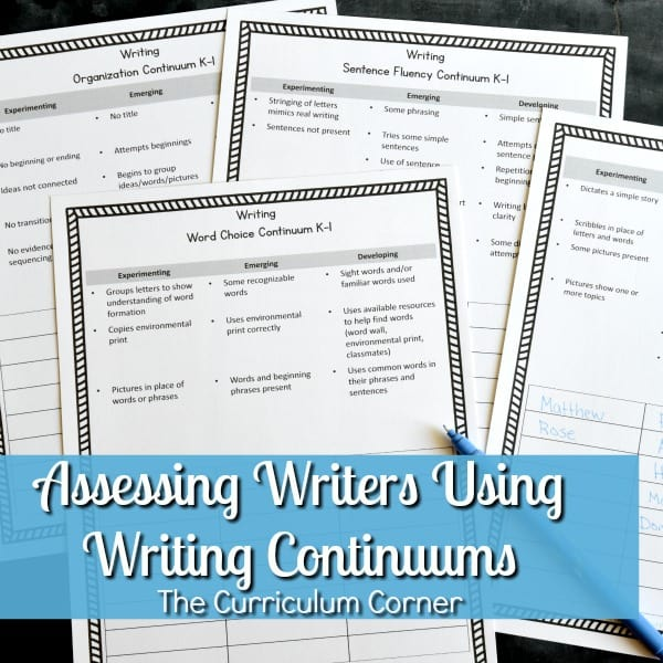 writing continuums for assessing writers