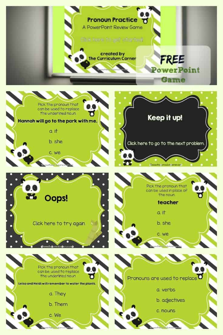 Use this Pronouns PowerPoint Game to give your students pronoun practice during your literacy stations.