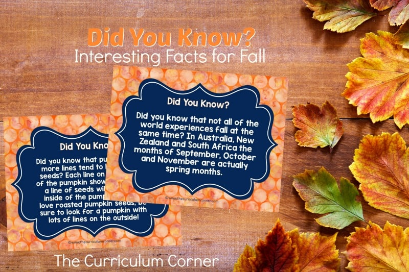 Use our Did You Know? facts for fall as an engaging morning entry display. This set of 8 free facts for fall is designed to be shared on your smart board.