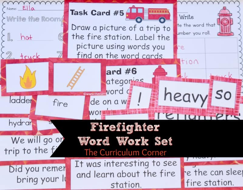 This firefighter word work set is the perfect set of fire word work for your classroom!
