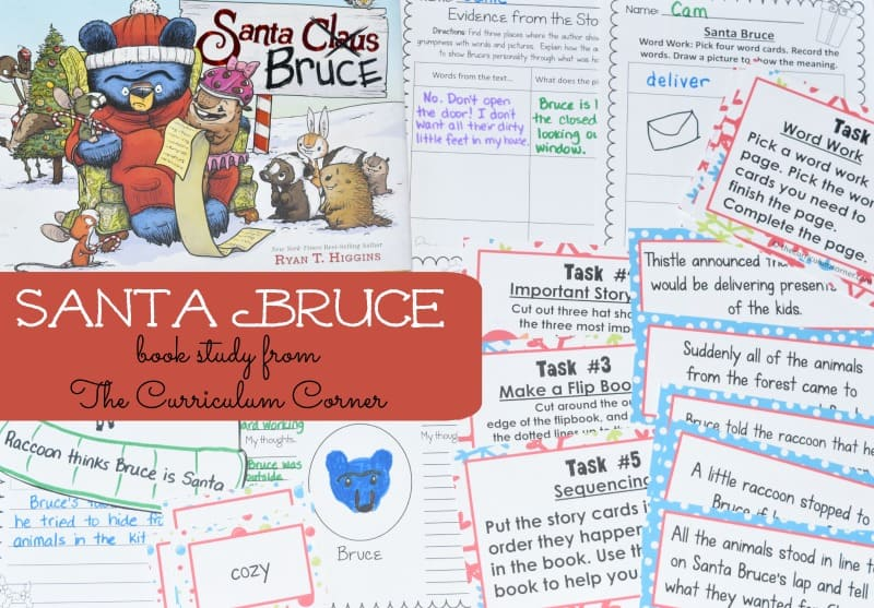 This Santa Bruce Book Study is a free seasonal literacy center set created by The Curriculum Corner. We also have a Bruce book set, Santa Bruce ornament, Santa hat and candy to give away by September 30th, 2018!