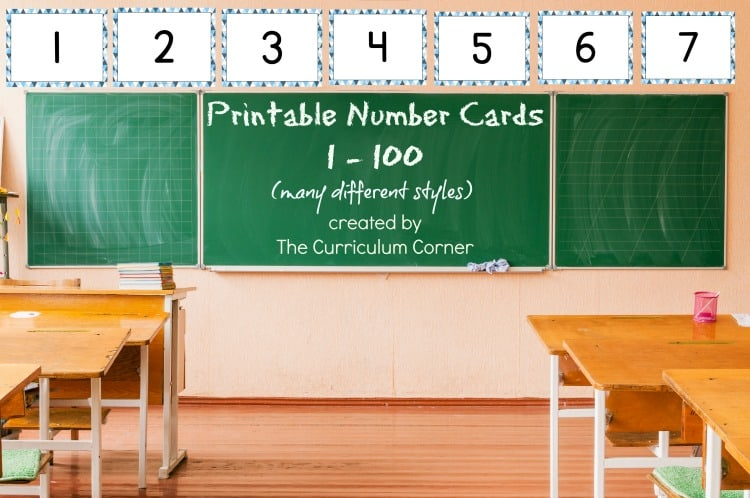 Choose one of these sets of printable number cards for display in your classroom or for many other practice purposes. Free from The Curriculum Corner
