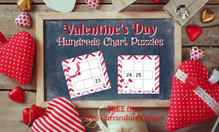 Valentine Hundreds Chart Puzzles The Curriculum Corner 123