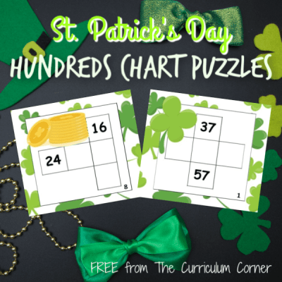 St. Patrick's Day Hundreds Chart Puzzle Cards