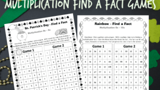 St. Patrick's Day Multiplication Find a Fact Games