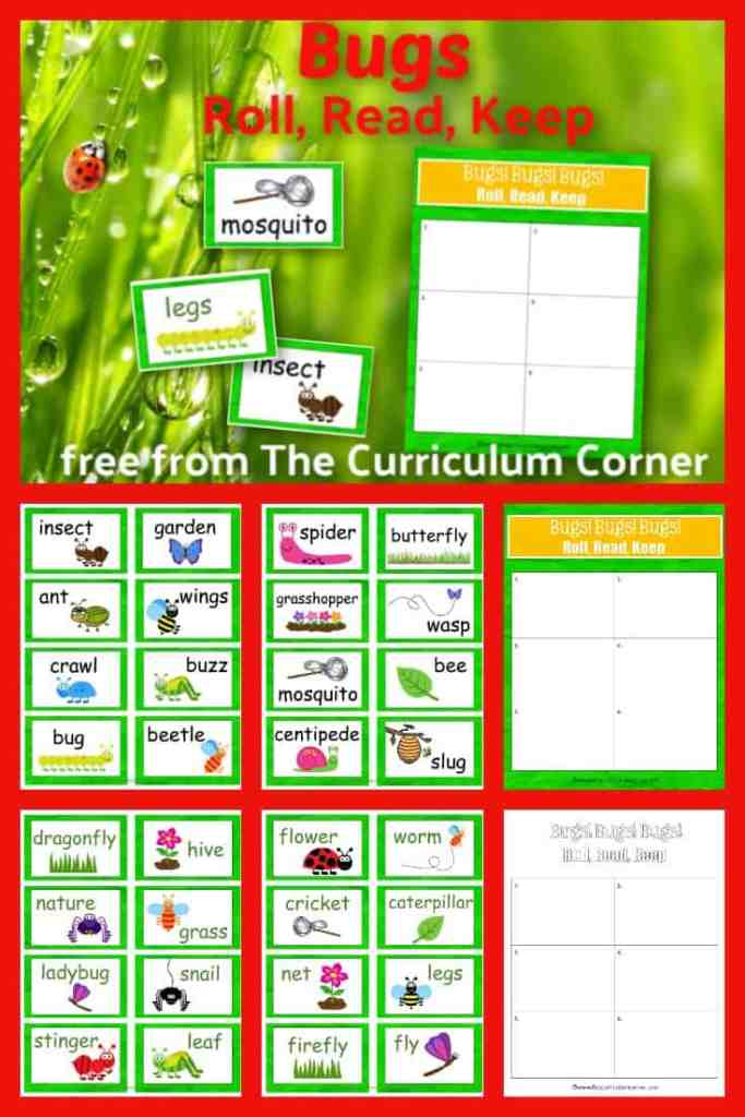 Create a simple but engaging literacy center with this bugs Roll, Read & Keep reading game, a free classroom resource from The Curriculum Corner.