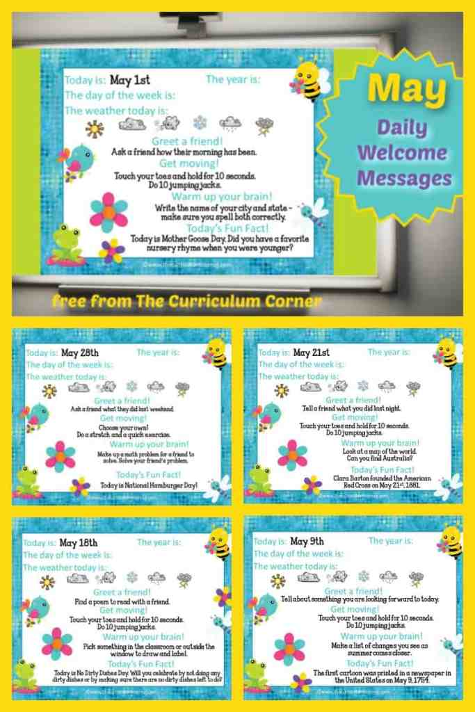 This set of free May Daily Welcome Messages is an easy way to get your students to enter the classroom and focus on the day ahead.
