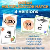 Ocean Multiplication Match (many skills)