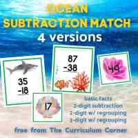 Ocean Subtraction Match (w/ & w/out regrouping)