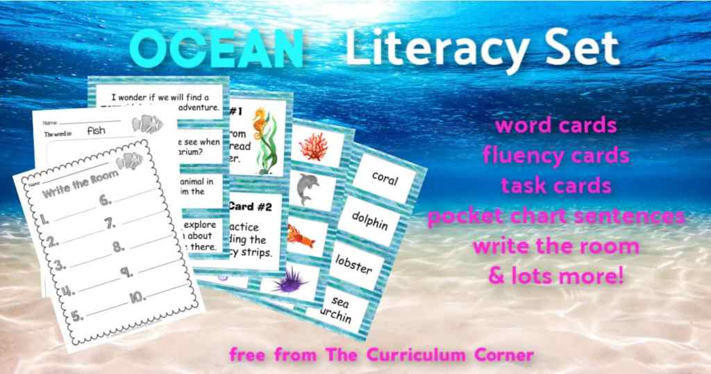 ocean word work set FREE from The Curriculum Corner