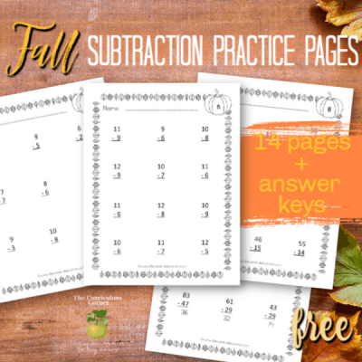 Fall Subtraction Practice Pages