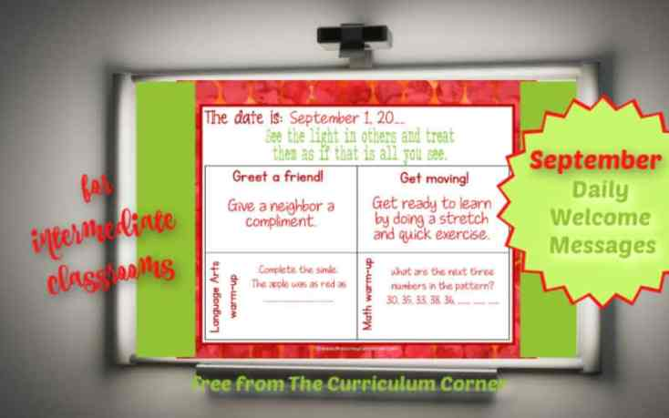 Daily Welcome Messages for 4th - 6th Grades