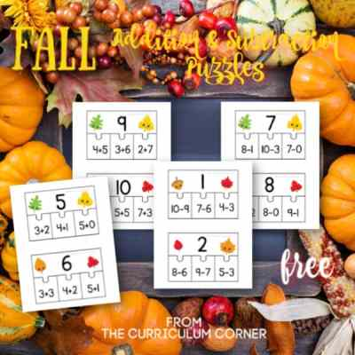 Fall Addition & Subtraction Fact Puzzles